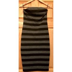 Express Black and Grey Striped Strapless Dress